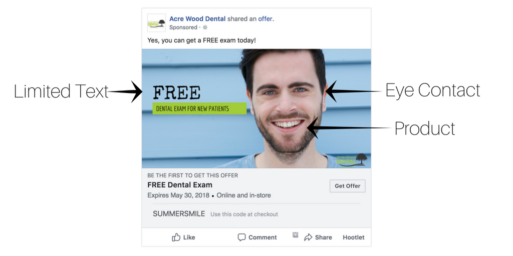 Facebook Ad. Add Limited Text on the image. Use eye contact and feature the product in the image.